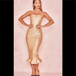 House of Cb London gold dress size med